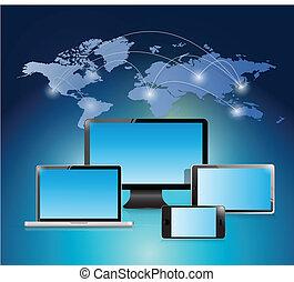 illustration, mondiale, conception, réseau, électronique