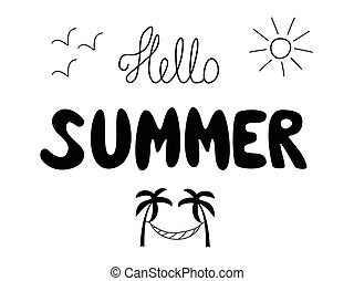 illustration., mots, arbre, changement, manuscrit, bloc-notes, vecteur, inscription., lettrage, été, dessiné, soleil, hammock., paume, dessins, mouettes, bonjour, main, prints., seasons.