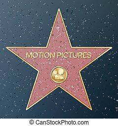 illustration., mouvement, vecteur, représenter, étoile, classique, trottoir, célèbre, monument, film appareil-photo, pictures., public, promenade, accomplissement, fame., boulevard., hollywood