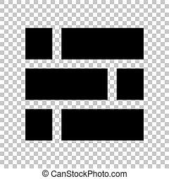 illustration., mur, signe., arrière-plan., noir, brique, transparent, icône