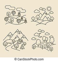 illustration, nature, icons., vecteur, forêt, ligne, vallée, paysages, paysage, mince
