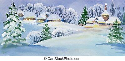 illustration., neigeux, aquarelle, maisons, paysage, hiver
