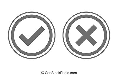 illustration., non, vecteur, oui, chèque, marks.