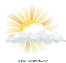 illustration, nuage, soleil