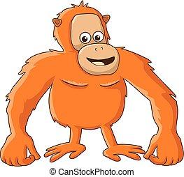 illustration, orang-outan, dessin animé
