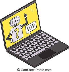 illustration, ordinateur portable, chatbot