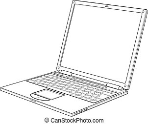 illustration, ordinateur portable, vecteur, contour