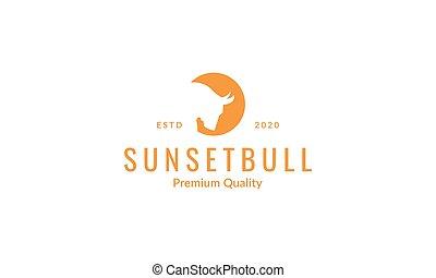 illustration, ou, animal, logo, bison, taureau, buffle, conception, tête, vecteur, coucher soleil