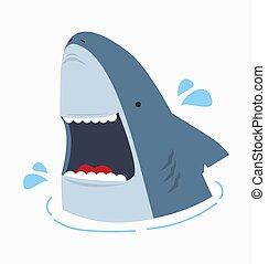 illustration, ouvert, vecteur, requin, mignon, bouche