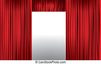 illustration., ouverture, detail., élevé, réaliste, vecteur, rideau, rouges