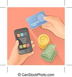 illustration, paiements, vecteur