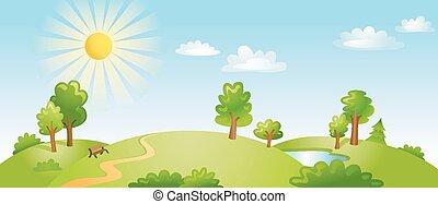 illustration, paysage., vecteur, beau