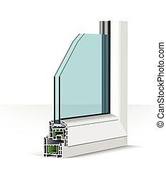 illustration, plastique, fenêtre, profile., blanc, 3d