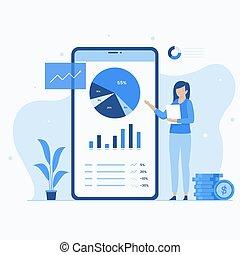 illustration, portefeuille, concept, investissement