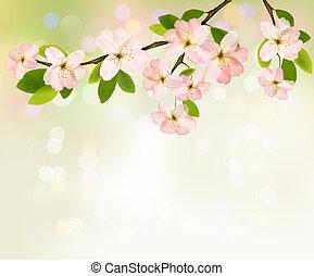 illustration., printemps, floraison, arbre, flowers., vecteur, fond, brunch