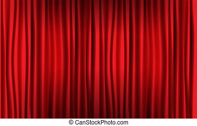 illustration., réaliste, vecteur, fin, curtain., rouges, vue