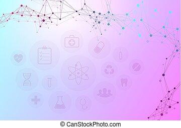 illustration., résumé, moderne, icônes, fond, monde médical, vecteur, molécules, technologie, concept., réseau