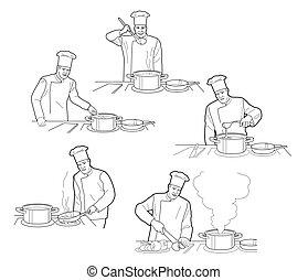 illustration., restaurant, processus, cuisine, chef cuistot, vecteur, arrière-plan noir, table, intérieur, figures, blanc, cuisine