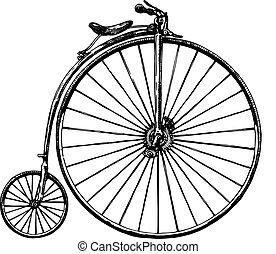 illustration, retro, vélo