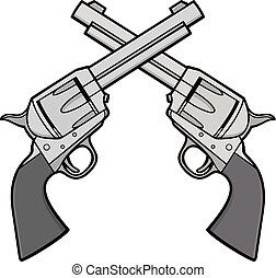 illustration, revolvers, ouest, sauvage