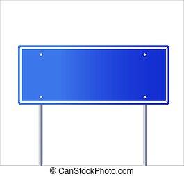 illustration, route, vector., vide, vecteur, signe bleu