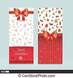 illustration., salutation, bows., créatif, holiday., vecteur, invitation, cartes, noël, rouges