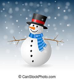 illustration., salutation, snowman., vecteur, noël carte