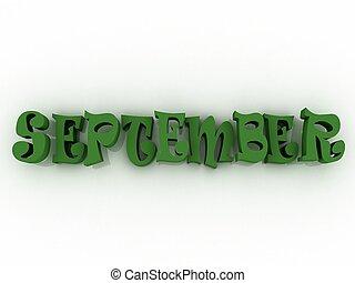 illustration., septembre, colour., signe, papier, 3d