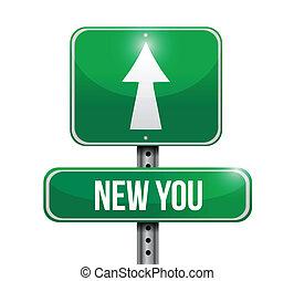 illustration, signe, conception, nouveau, vous, route
