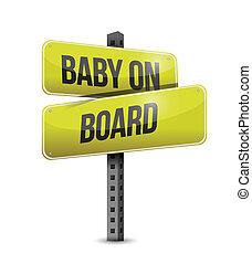 illustration, signe, conception, planche, bébé, route