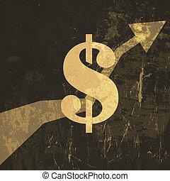 illustration., signe, dollar, haut, vecteur, retro, grandir, revenus