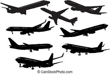 illustration., silhouettes., vecteur, noir, avion, blanc