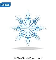illustration., snowflake blanc, arrière-plan., isolé, vecteur, hiver