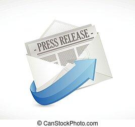 illustration, sortie, presse, email