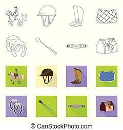 illustration, stockage, collection, signe., concurrence, symbole, équipement, web., vecteur, équitation