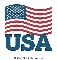 illustration., symbole, arrière-plan., signe, amérique, national, développer, blanc, patriotique, pays, etats unis, état, usa., drapeau, america.
