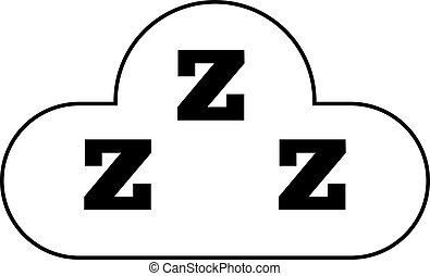 illustration., symbole, trois, vecteur, sommeil, snooze, cloud., icon., z, ton, design.