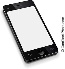 illustration., téléphone, mobile, écran, réaliste, vecteur, gabarit, vide, blanc, 3d