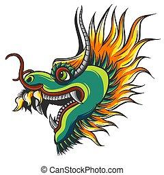 illustration, tête, chinois, coloré, dragon
