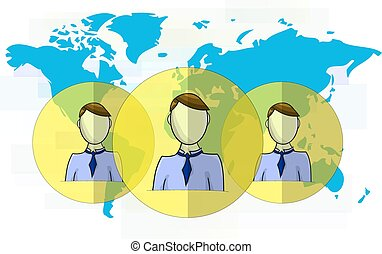 illustration, têtes, média, social