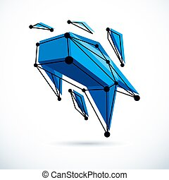illustration., technologie, constitué, résumé, 3d, objet, wireframe, vecteur, géométrique