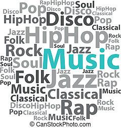 illustration., texte, concept., étiquette, vecteur, musique, wordcloud., cloud.