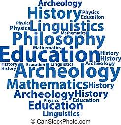 illustration., texte, concept., étiquette, vecteur, wordcloud., cloud., education