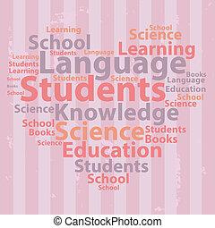illustration., texte, concept., typographie, vecteur, wordcloud., cloud., education