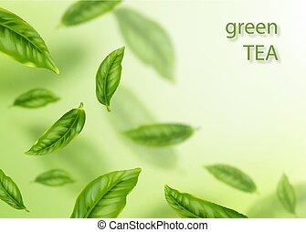 illustration., thé, concept., voler, leaves., vecteur, vert, publicité