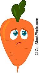 illustration, triste, carotte, blanc, vecteur, arrière-plan.