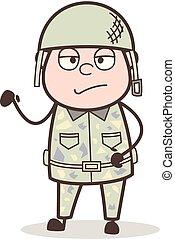 illustration, triste, vecteur, officier, expression faciale, dessin animé
