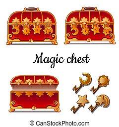 illustration., trois, keys., quatre, serrures, poitrine, vecteur, rouges