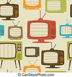 illustration., tv, pattern., seamless, vecteur, retro