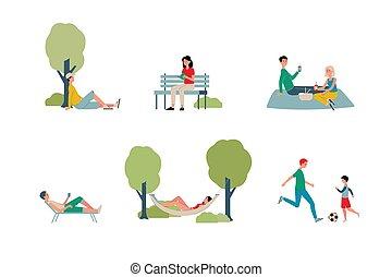 illustration, vecteur, activité, ville parc, gens, week-ends, plat, -